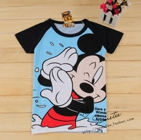 Free ship women/lady blue mickey women's short-sleeve 100% cotton t-shirt