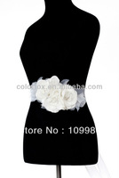 Elegant Designer Two Pin Three Flowers Taffeta / Organza Bridal Belt and Sash for DIY Wedding Dress