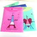 Free Shipping!!Wholesale,Photo Color/Novelty Documents pouch/Cartoon file pocket/Lovely Eiffel tower A4 Document Bag P712-08