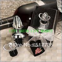 NEW ARRIVAL+Crystal Heart Chrome Bottle Stopper wine set wedding opener favors and gifts +1pcs/set+8sets/lot