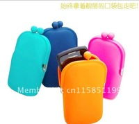 Free Shipping  Women Rubber Silicone Cosmetic Makeup Bag Coin Purse Wallet Cellphone Case Pouch