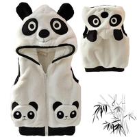 boys  child girls child baby boy coral fleece thickening with a hood vest panda set  0064
