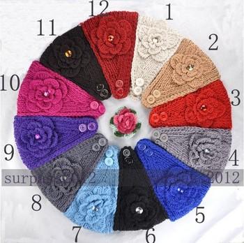 Free Shipping Big Size Flower Crysta Women Lady Headband Knit Crochet Headwrap Mix Color 50 Pcs