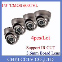 Wholesale 4pcs/lot 1/3'' CMOS 600TVL 3.6mm Board Lens 23pcs IR LED Indoor Vandalproof IR Dome Camera with IR Cut