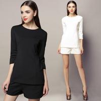 Miuco women's ladies small 7 quarter sleeve top shorts set black white