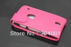 Hot Pink Color Flip Leather Case FOR SONY ERICSSON XPERIA NEO MT15I(China (Mainland))