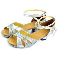 Latin dance shoes female child silver x color gold child dance shoes dance shoes