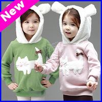 2013 New Winter Girls Clothing Cartoon Cat Children's Hoodies Girls Sweater for Winter free shipping TZ24
