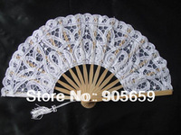 (100 pcs/lot) Handmade 8.7'' Plain White Color Bamboo & Lace Fans