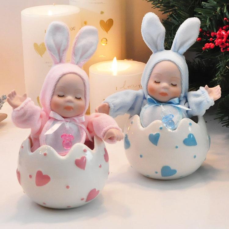 2013 Dia dos Namorados coelho bebê meninas namorada caixa de cerâmica música boneca cabeça bobble música presente de aniversário presentes(China (Mainland))