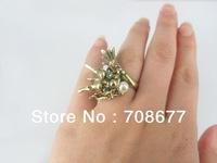 Wholesale Vintage Style Bronze Rhinestone Chinese Dragon Ring #7