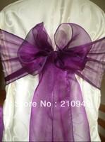 FREE SHIPPING 100 pcs purple sash chair cover sash for wedding organza chair sashes wedding sash