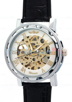 Brand New Winner Skeleton Automatic Mechanical Silver White Rome Numeric Wrist Watches With Warranty