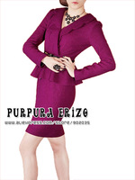 Free Shipping Fashion Elegant Fitted Sheath Purpura Erizo Womens Fashion Elegant Woolen V collar Long Sleeve Dress