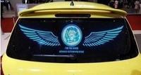 Free Shipping!! 90*25cm Fashion lion Car Sound music Activated equalizer glow LED Flash light Kit Sticker subwoofer