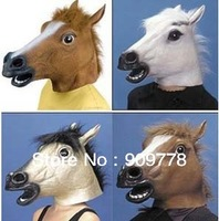 4 Colors Latex Rubber Novelty Theater Prop Halloween Mask Masquerade Party Mask Cosplay Horse Head Mask