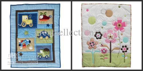 Baby Quilt Play Mat Cotton Fabric Applique Embroidery Cartoon Blue Pink Transport Flower Mix Order(China (Mainland))