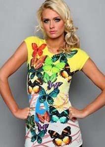Brand designer slim butterfly printed short sleeve t-shirt/tops for women 2013 summer fashion tshirts cotton women S/M/L/XL