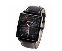 Curren Quartz Wrist Watches for Men with Strips Indicate Time Square Dial Black Leather Band