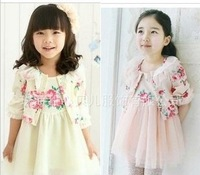 girl's flower printing dress set Long-sleeved jacket + Princess gauze dress 2pieces/set  most country free shipping
