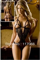 Free Shipping ML6021 Hearts Black Body Revealing Velvet and Lace Detail Jewelry Body suit Teddy Sets
