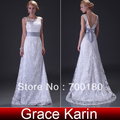 Free Shipping 1pcs/lot Grace Karin Floor Length Deep V Back Lace Bridal Wedding Dress 2013 CL3821