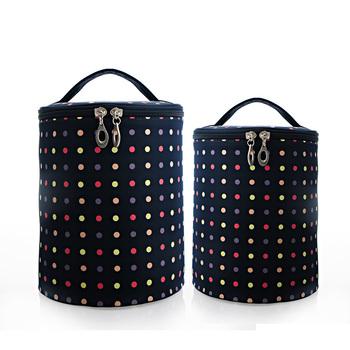 Free shipping 2pcs ladies dot cosmetic bucket bag professional makeup case multi-purpose storage bag