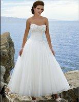 Draped Beach Style Off-shoulder Bridal Wedding Dress