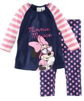 children girl's minnie tshirt pant 2pcs clothes set kids cotton sleepwear baby suits 6 sets/lot free shipping
