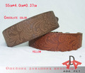 Wholesale 5PCS/lot  4.0*55cm deep brown\ light brown PU leather pet collar,dog collar,cat collar, free shipping!