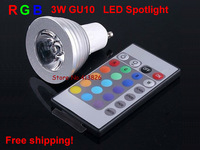 Free shipping!5pcs/lot AC85-265V 3W GU10 RGB LED Bulb Light 16 Color RGB Changing spotlight with Controller for Room Decoration