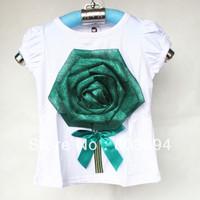 New b2w2 girl shirt with green flower girl short sleeve shirt 5pcs/lot T012