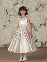 Free Shipping!Custom Made A-line Flower Girl Dress Jewel Beading Pleat Satin Tea Length First Communion Calabrese Girl Dresses