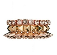 Wholesale - New European Punk Style 3Pcs/Set Gold Plated Alloy Crystal Rivets stretch Bracelet 12set/lot