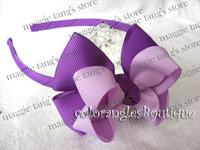 "Multi-Color 4.5"" Baby handmade headband hairband grosgrain head band Boutique hairbows Purple B014"