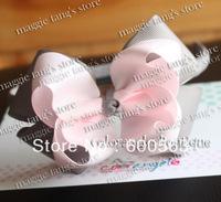 "Multi-Color 4.5"" Baby handmade hair bow hairband grosgrain headband Boutique hairbows Grey Pink B013"