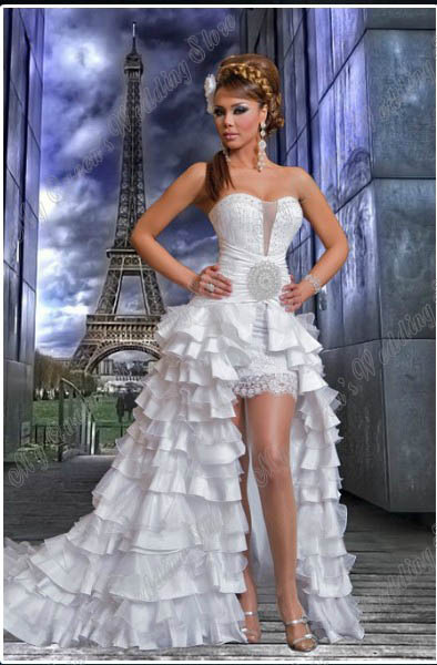 2013 Hot Sell Hi-Lo Sweetheart Fashion Simple Floor Length Middle East Style Wedding Dress(China (Mainland))