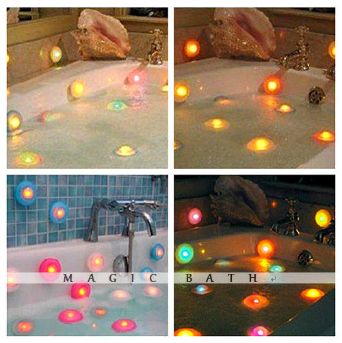 Beacon Romantic Multi-color changing Bathtub & Spa LED Lighting 10pcs/Lot Free shipping Bath&Kitchen store(China (Mainland))