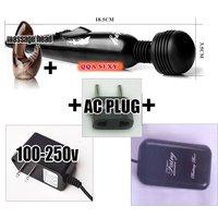 AV17 multi speed adult toy 5pcs/set black AV massager + shark headgear + AC charger + battery box + UE AC plug, sex toys SET