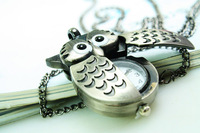 quartz gothic retro Gun vintage owl quartz pocket watch owl series gualian table high quality Factory Price