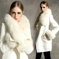 Free Shipping+Special Autumn And Winter New Fox Fur Cashmere Coat Lapel Fur Coat Luxury Fur Collar Wool Coats