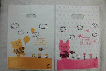 Cute Cartoon Bear and Bunny Plastic  gift , shopping bag , birthday Loot , kids garment bag      23*33cm