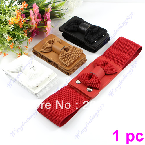 Womens Elegant Bowknot Wide Elastic Stretchy Bow Tie Woven Belt Waistband 4 Colors(China (Mainland))
