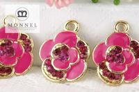 H315b Wholesale DIY Custom alloy 3pcs Rose Pink Flower Charm Pendant