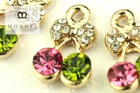H553 Cute Crystal Cherry Charm Wholesale (3pcs)