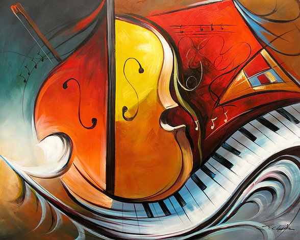 Musical instrument theme abstract oil painting, pure hand-painted art, high-quality paintings(China (Mainland))