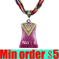 (Min order $5,can mix) Newest Bohemia Necklace Braided Necklace Imitation Gemstone Pendant Free Shipping(China (Mainland))