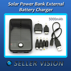 5000mAh Solar Power External Backup Battery Charger For Phones SCA-0678-Black(China (Mainland))