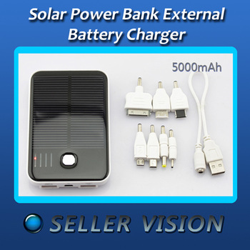 5000mAh Solar Power External Backup Battery Charger SCA-0678-White