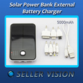 5000mAh Solar Power External Backup Battery Charger For Phones SCA-0678-White